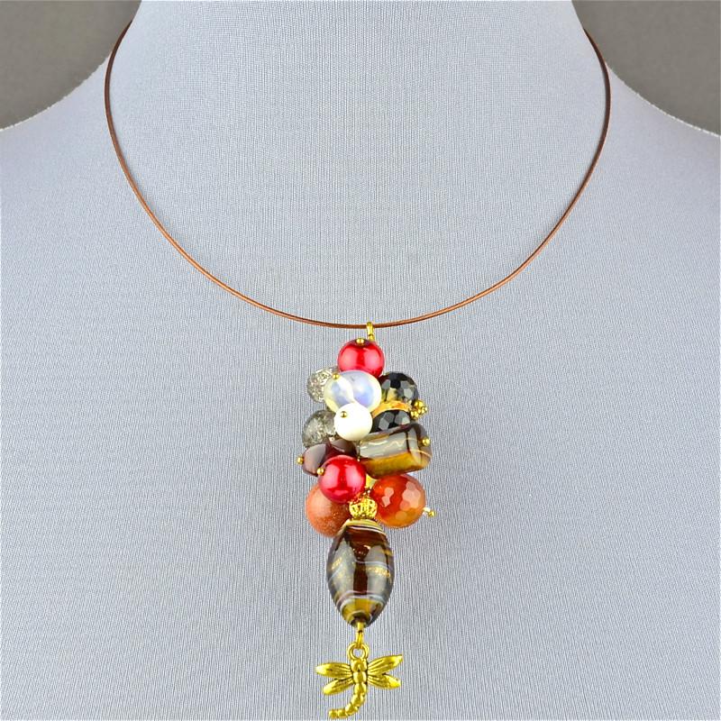 Авторская подвеска радужье самоцветы бусики колечки авторский браслет радуга любви самоцветы арт авт 6273