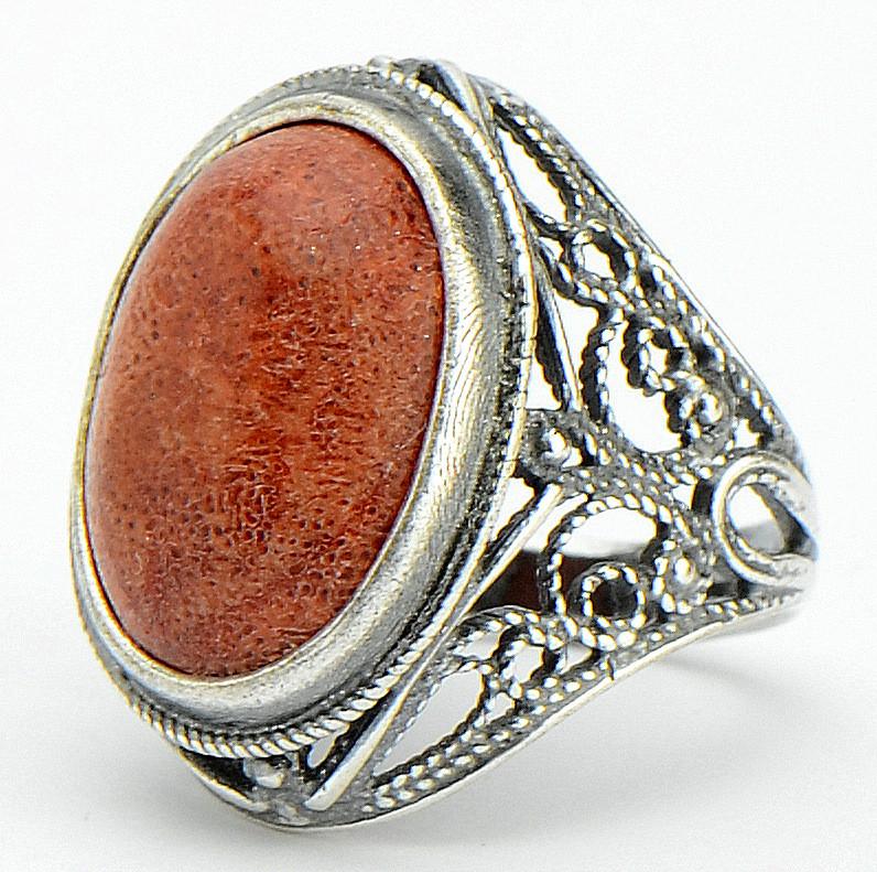 Кольцо Марфа коралл,
