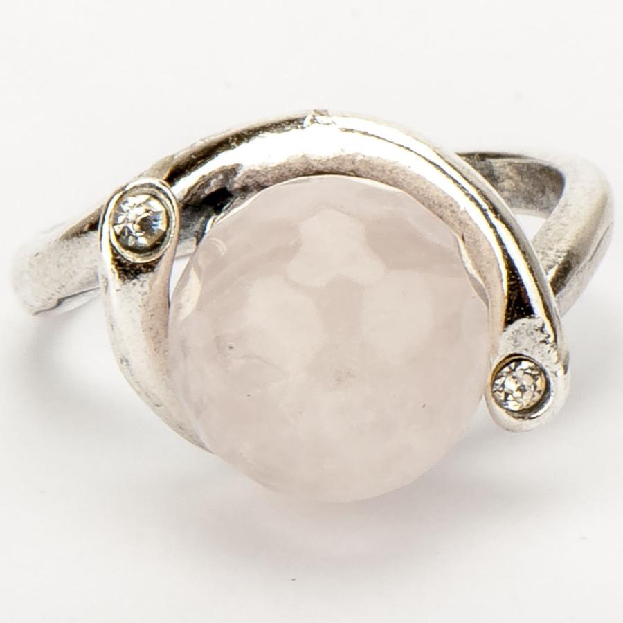 Кольцо Объятие  розовый кварц, Бусики-Колечки