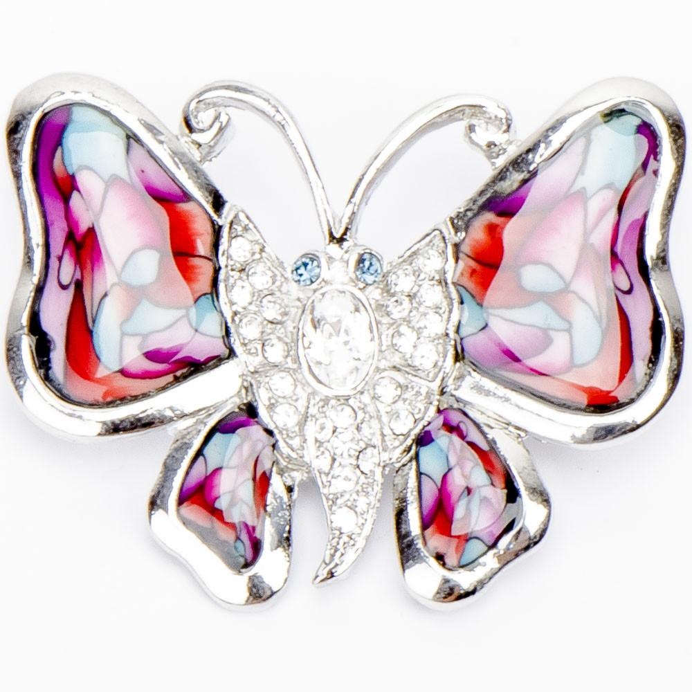 Брошь бабочка страз, эмаль