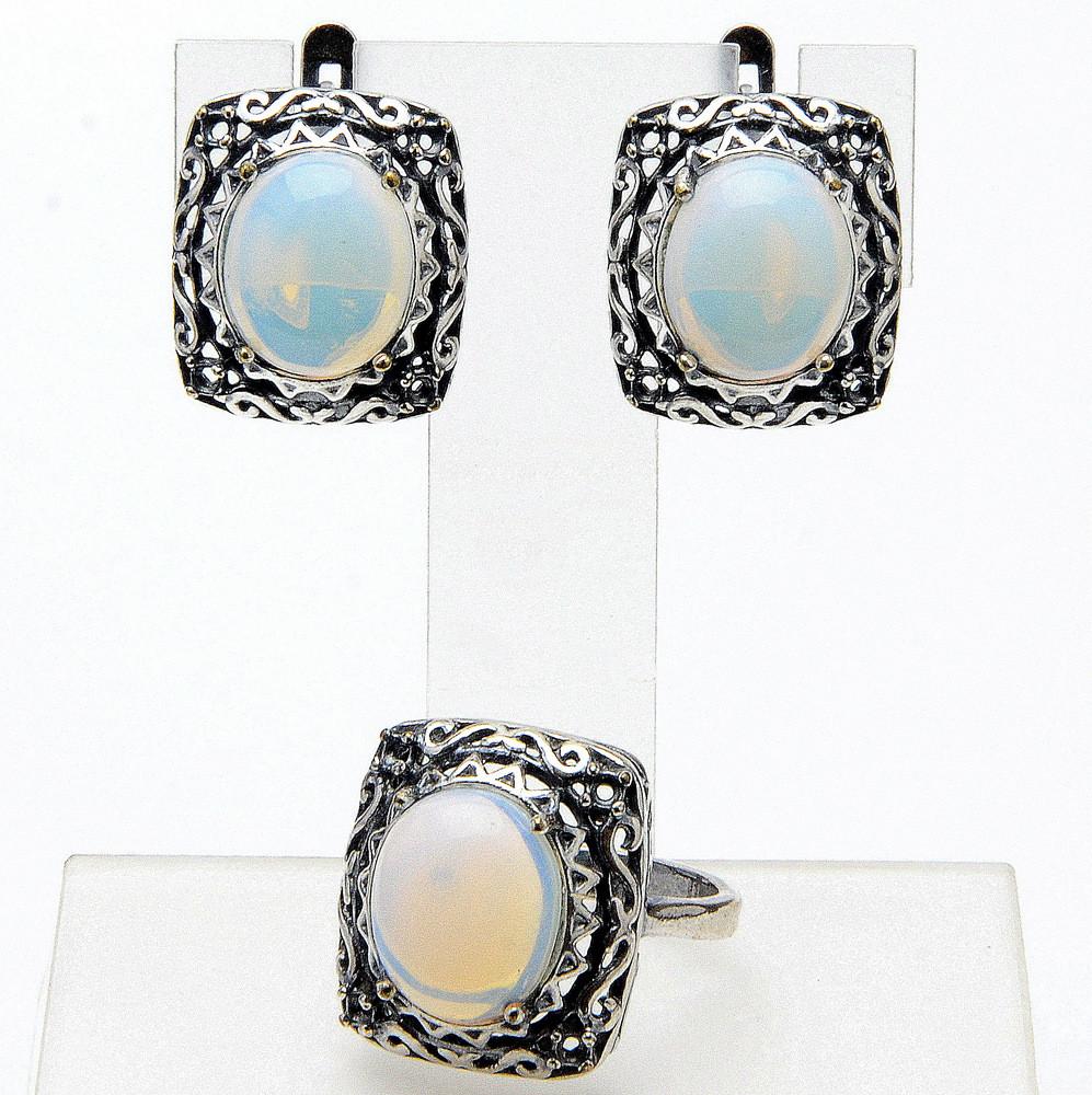 Комплект Алия  лунный камень, Бусики-Колечки