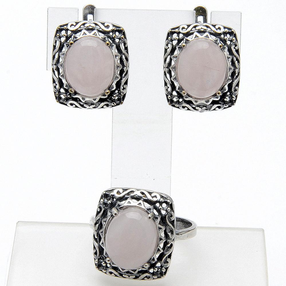 Комплект Алия  розовый кварц, Бусики-Колечки