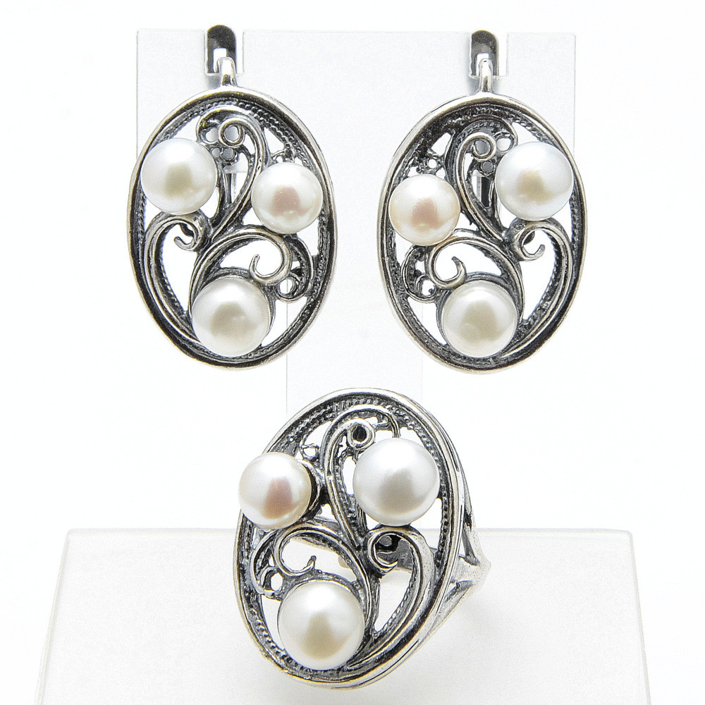 Комплект Зеркало жемчуг, Бусики-Колечки