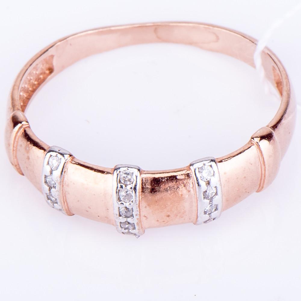 Кольцо серебро, фианит, позолота