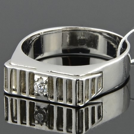 Кольцо серебро, фианит
