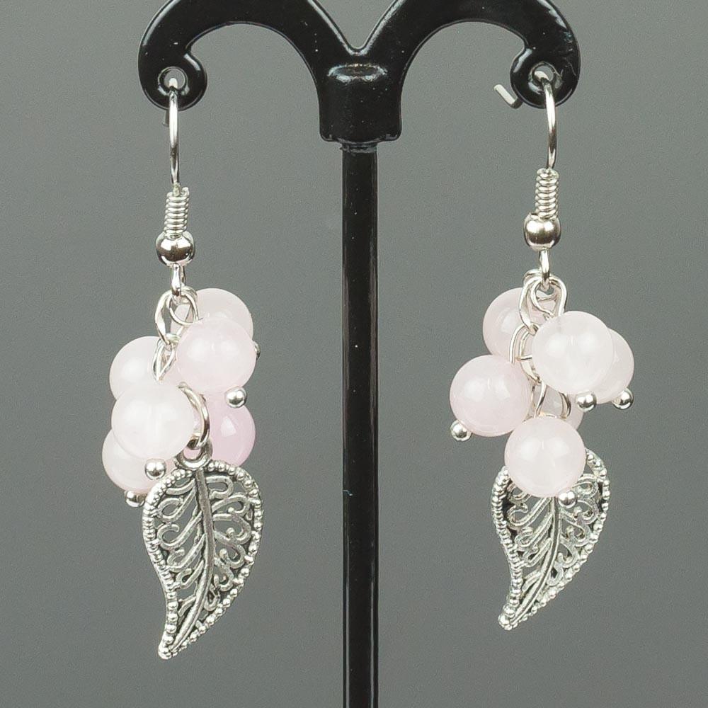 Серьги гроздь розовый кварц бусики колечки кольцо лаватера розовый кварц арт ск 4986