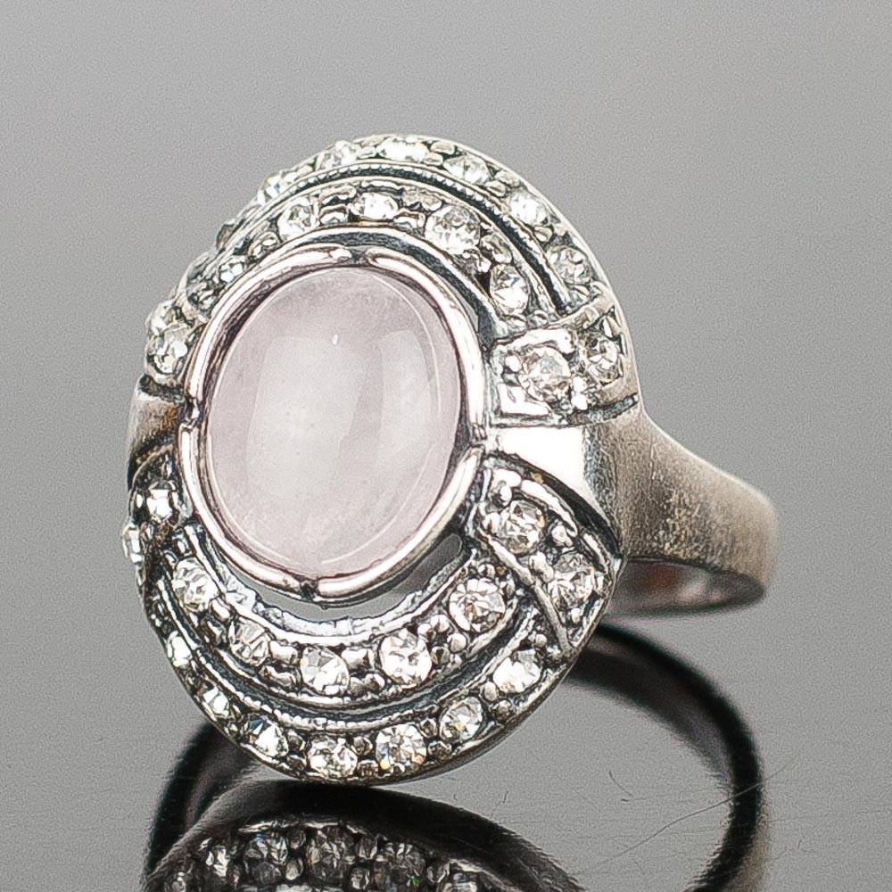 """Кольцо """"венец"""" розовый кварц"""